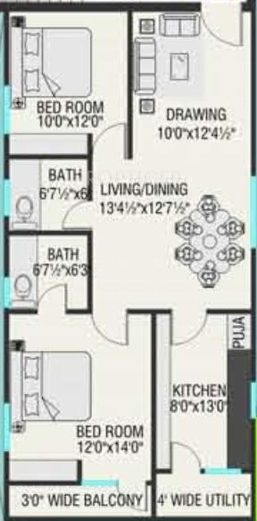 1120 sq ft 2 bhk 2t apartment for sale in dhaani builders for 1120 westchester place floor plan