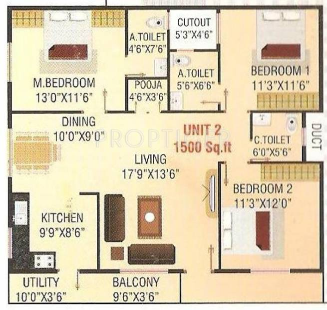 3bhk floor plan in 1500 sq ft for 1500 sq ft duplex house plans
