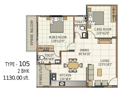 1130 Sq Ft 2 Bhk 2t Apartment For Sale In Terra Properties
