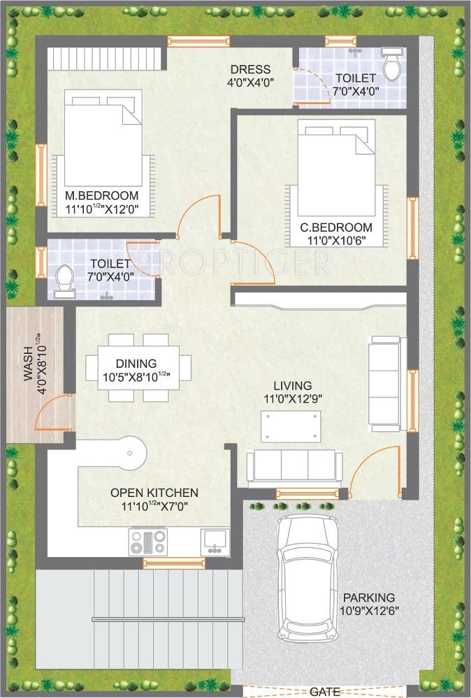 2 bhk independent house plans in india for 2 bhk house designs in india