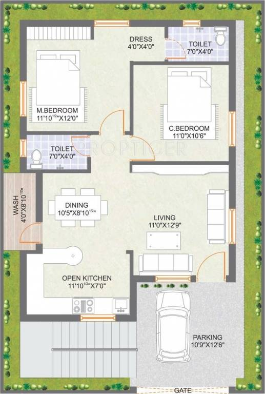 1055 sq ft 2 bhk 2t villa for sale in praneeth pranav for North indian house plans with photos