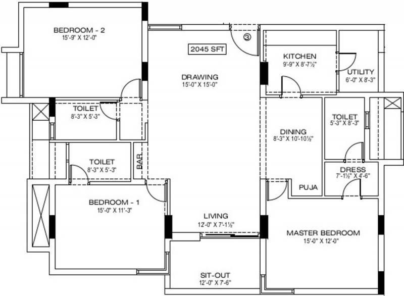 Manbhum Around the Grove (3BHK+3T (2,045 sq ft) + Pooja Room 2045 sq ft)