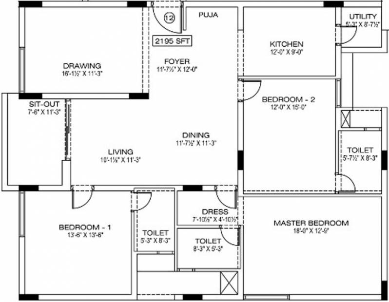 Manbhum Around the Grove (3BHK+3T (2,195 sq ft) + Pooja Room 2195 sq ft)