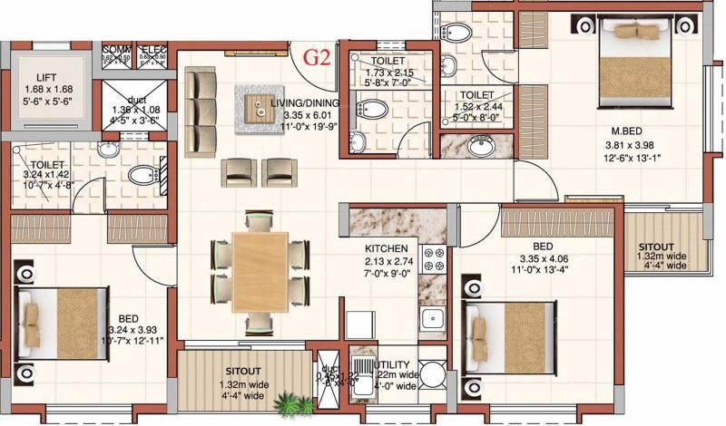 Ahad Excellencia (2BHK+2T (1,384 sq ft) + Study Room 1384 sq ft)