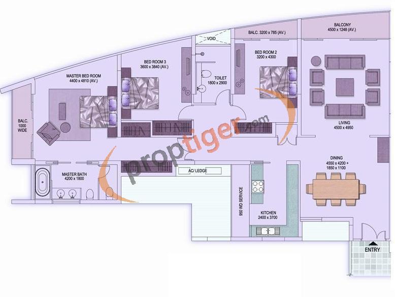 Shrachi Rosedale Garden (3BHK+2T (2,231 sq ft) 2231 sq ft)