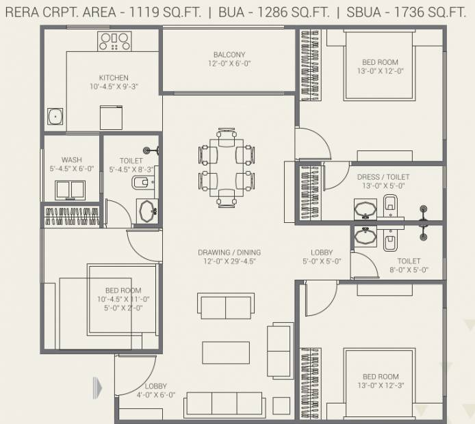 Gorbandh Fort The Crown (3BHK+3T (1,119.45 sq ft) 1119.45 sq ft)