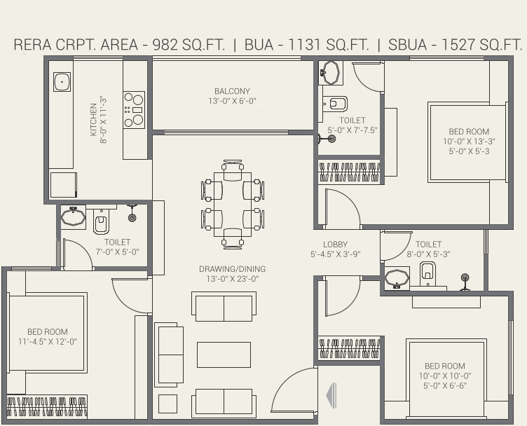 Gorbandh Fort The Crown (3BHK+3T (982.31 sq ft) 982.31 sq ft)