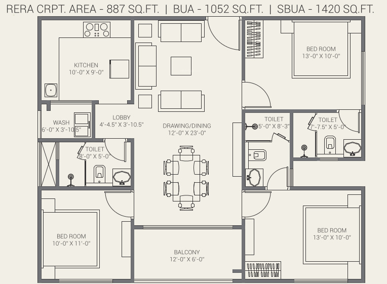 Gorbandh Fort The Crown (3BHK+3T (887.27 sq ft) 887.27 sq ft)