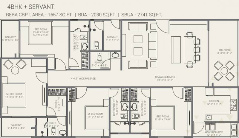 Gorbandh Fort The Crown (4BHK+4T (1,657.64 sq ft) + Servant Room 1657.64 sq ft)