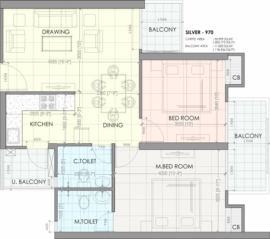 House Plan For 16 Feet By 54 Feet Plot Plot Size 96: 970 Sq Ft 2 BHK 2T Apartment For Sale In Saya Homes S