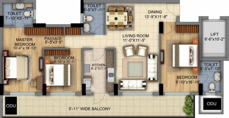 DLF The Skycourt (3BHK+3T (1,930 sq ft) 1930 sq ft)