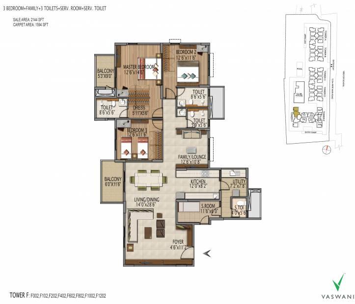 Vaswani Menlo Park (3BHK+3T (2,144 sq ft) + Servant Room 2144 sq ft)