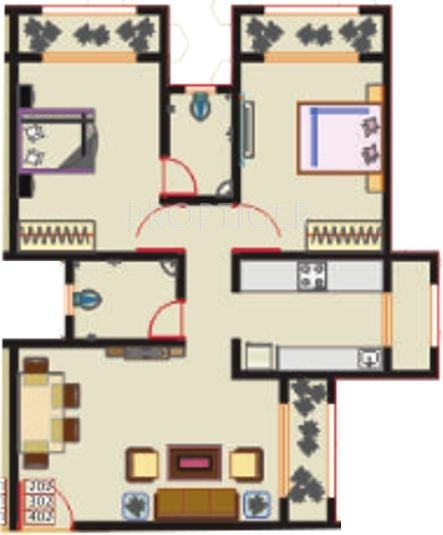 720 Sq Ft 2 Bhk Floor Plan Image Aaditya Realtors Navkar