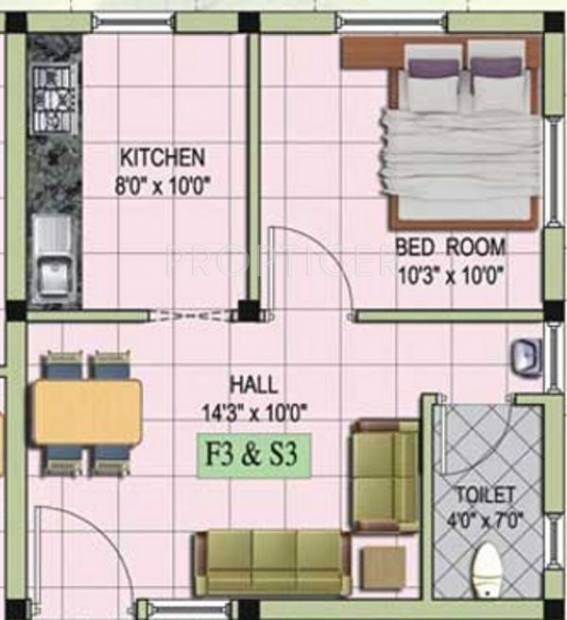MS Mithra Flats (1BHK+1T (535 sq ft) 535 sq ft)