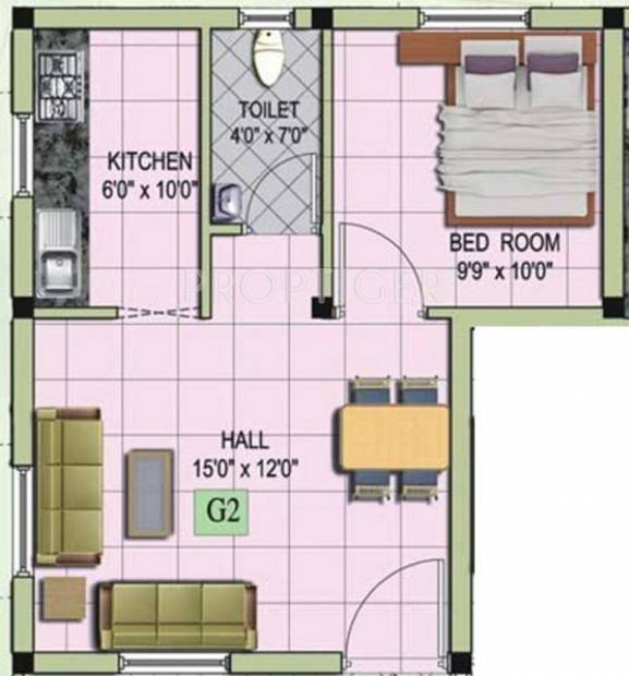 MS Mithra Flats (1BHK+1T (666 sq ft) 666 sq ft)