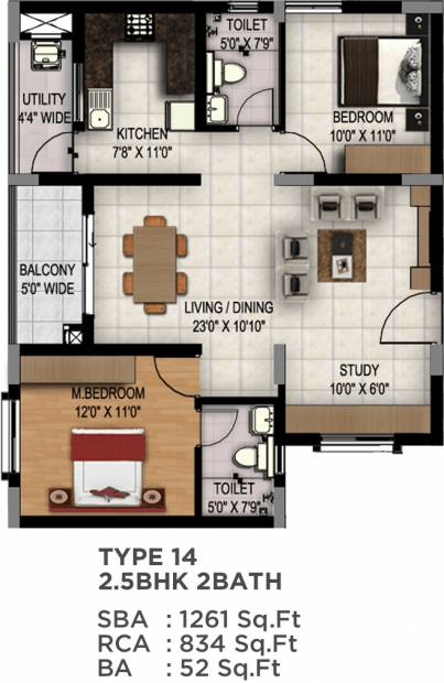Maarq Alpha (2BHK+2T (1,261 sq ft) + Study Room 1261 sq ft)
