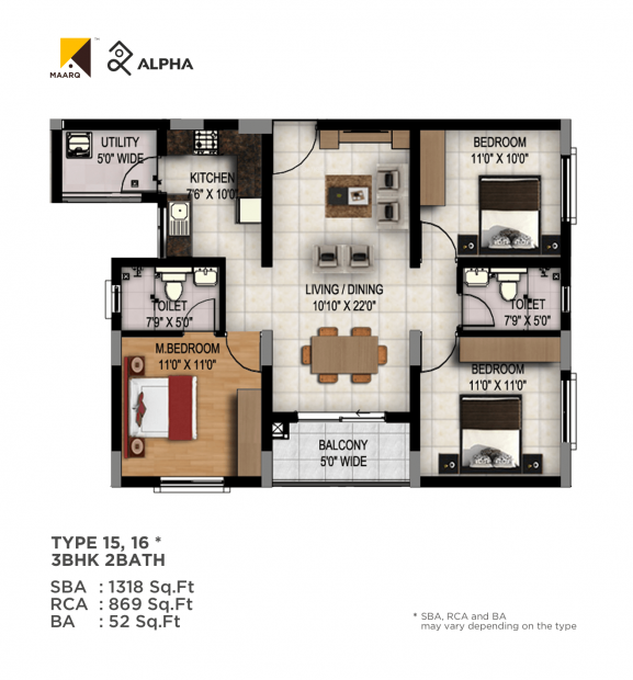 Maarq Alpha (3BHK+2T (1,318 sq ft) 1318 sq ft)