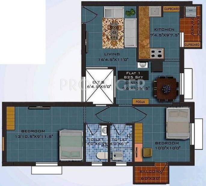 Navani Mathura (2BHK+2T (825 sq ft)   Pooja Room 825 sq ft)