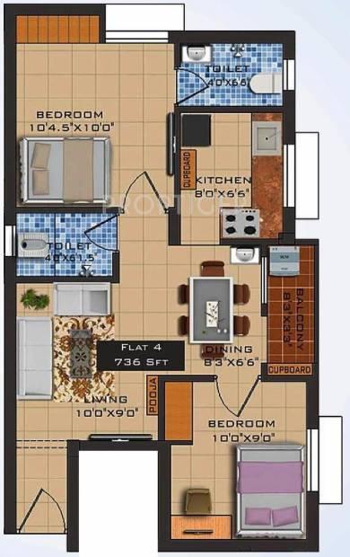 Navani Mathura (2BHK+2T (736 sq ft)   Pooja Room 736 sq ft)
