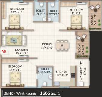 1665 Sq Ft 3 Bhk Floor Plan Image Candeur Landmark Available For Sale Rs In 73 26 Lacs Proptiger Com