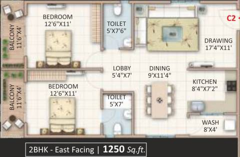 1250 Sq Ft 2 Bhk Floor Plan Image Candeur Landmark Available For Sale Rs In 55 00 Lacs Proptiger Com