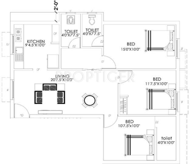 Aditi Rajakilpakkam (3BHK+3T (1,206 sq ft) 1206 sq ft)