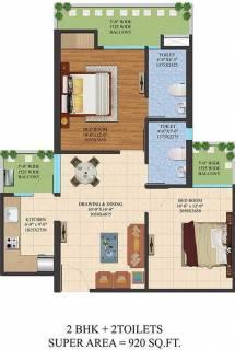 920 Sq Ft 2 Bhk Floor Plan Image Ajnara India Legarden Available For Sale Proptiger Com