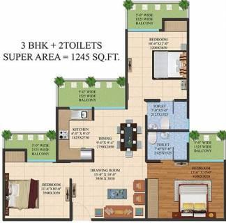 1245 Sq Ft 3 Bhk Floor Plan Image Ajnara India Legarden Available For Sale Proptiger Com