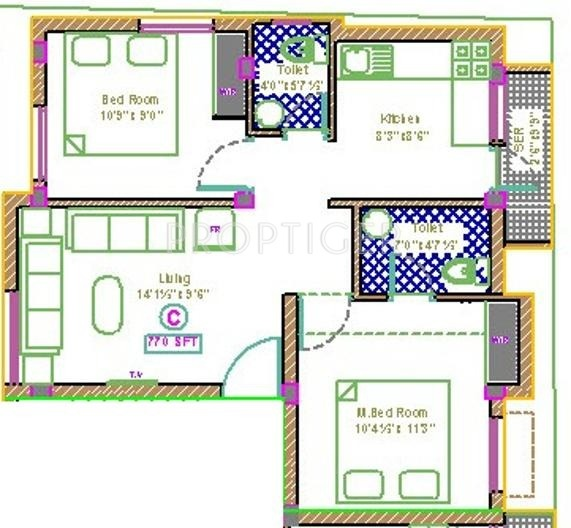 770 sq ft 2 bhk 2t apartment for sale in malainur for 770 plan