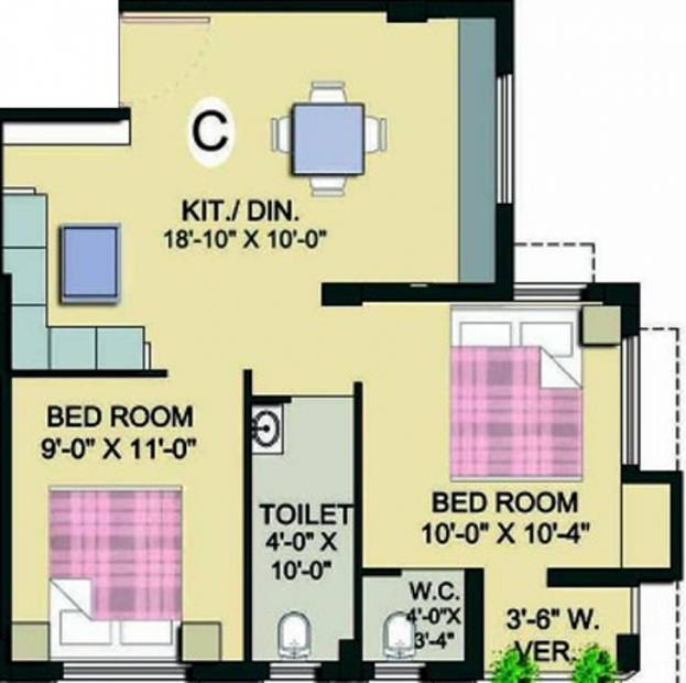 Green View (2BHK+2T (780 sq ft) 780 sq ft)