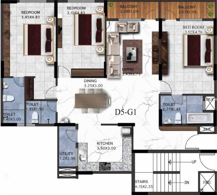 Sovereign Sovereign Unnathi (3BHK+3T (2,055 sq ft) 2055 sq ft)