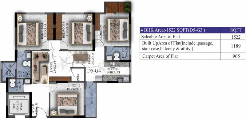 Sovereign Sovereign Unnathi (4BHK+3T (1,522 sq ft) 1522 sq ft)