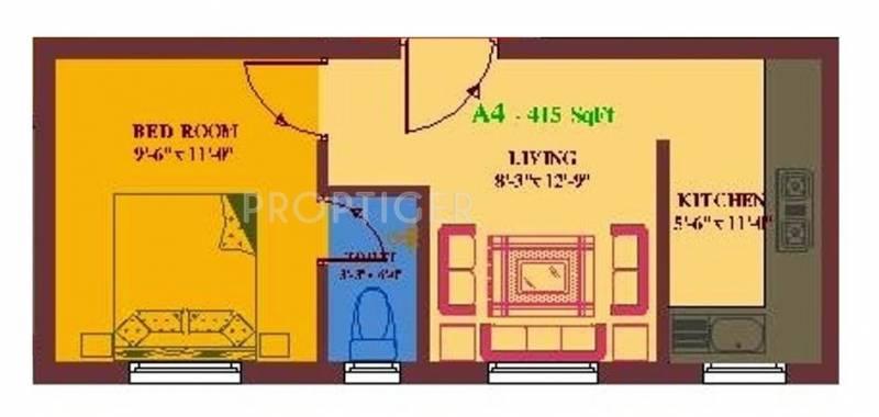 UA Arunachalam (1BHK+1T (415 sq ft) 415 sq ft)