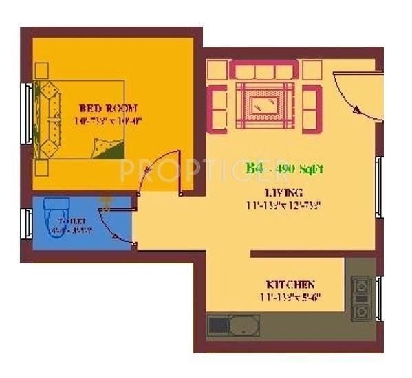 UA Arunachalam (1BHK+1T (490 sq ft) 490 sq ft)