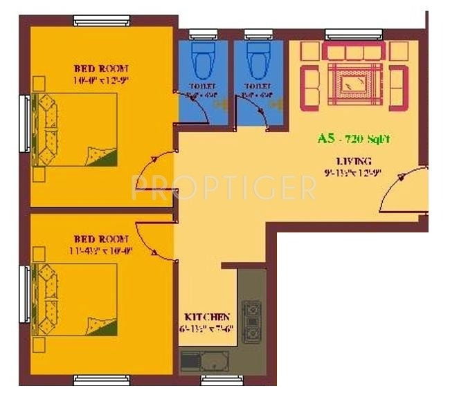 720 sq ft 2 bhk 2t apartment for sale in ua foundation for 720 sq ft apartment floor plan