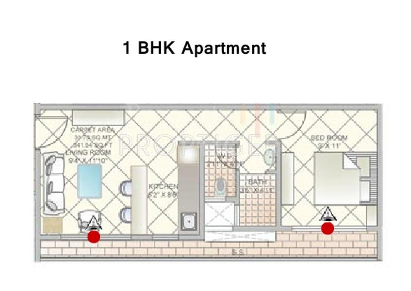 495 sq ft 1 bhk 1t apartment for sale in build strong for 1 bhk floor plans india