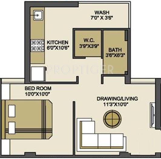640 Sq Ft 1 Bhk 1t Apartment For Sale In Bakeri Group