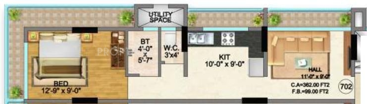 Navkar Group Pearl Floor Plan (1BHK+1T)