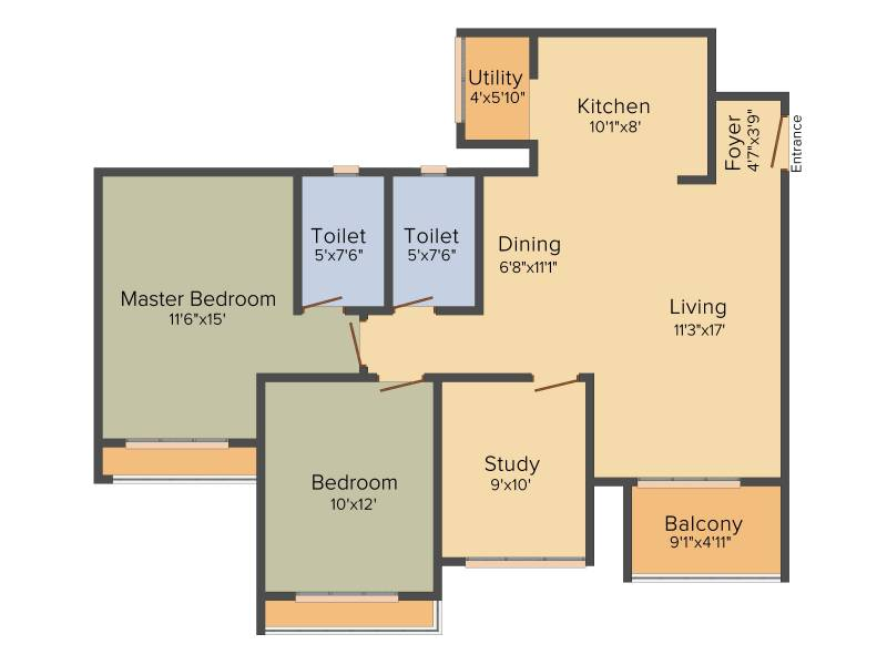 Goyal Orchid Piccadilly (2BHK+2T (1,371 sq ft) + Study Room 1371 sq ft)