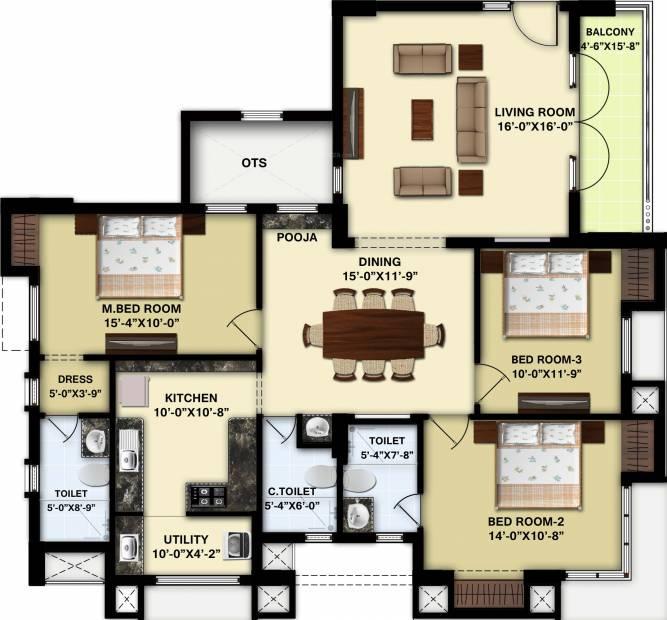 GRCL Avighna (3BHK+3T (1,247.97 sq ft) + Pooja Room 1247.97 sq ft)