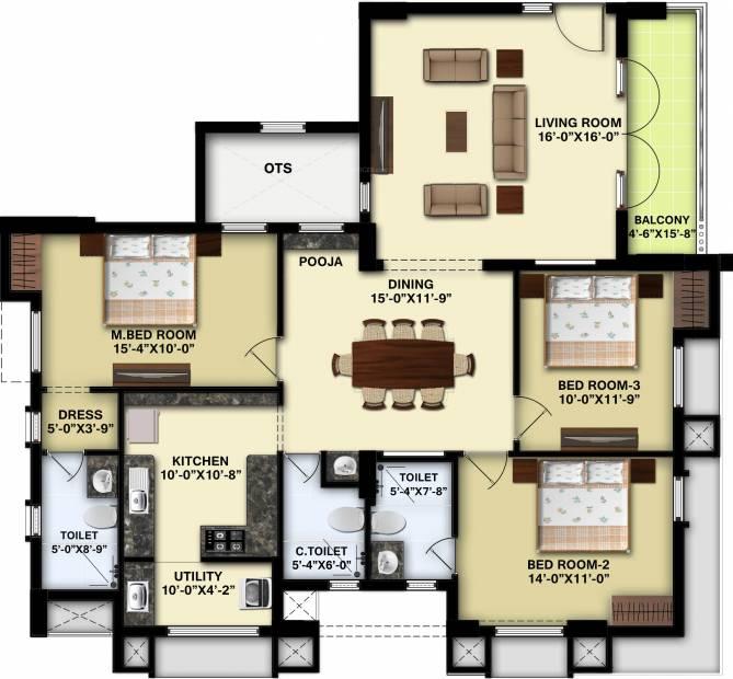 GRCL Avighna (3BHK+3T (1,227.88 sq ft) + Pooja Room 1227.88 sq ft)