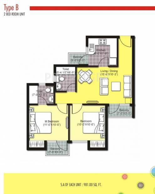 Unitech Uni Homes (2BHK+2T (700 sq ft) 700 sq ft)