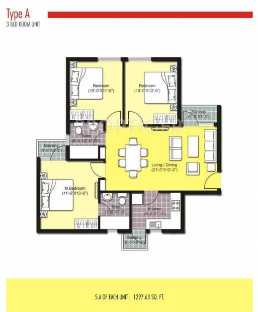 Unitech Uni Homes (3BHK+3T (1,050 sq ft) 1050 sq ft)