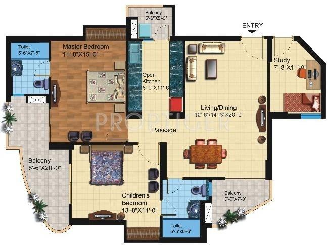 Paramount Symphony (2BHK+2T (1,425 sq ft)   Study Room 1425 sq ft)