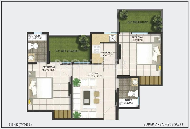 AKVS Surya Heights (2BHK+2T (875 sq ft) 875 sq ft)