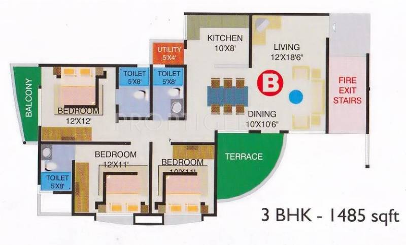 Ideal Einion Carnation (3BHK+3T (1,485 sq ft) 1485 sq ft)