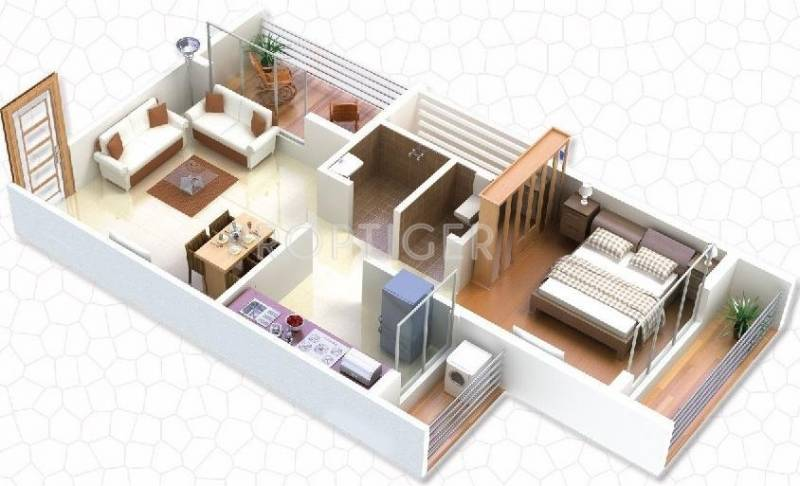 610 sq ft 1 bhk floor plan image gaj avenue available for Home design in 100 gaj