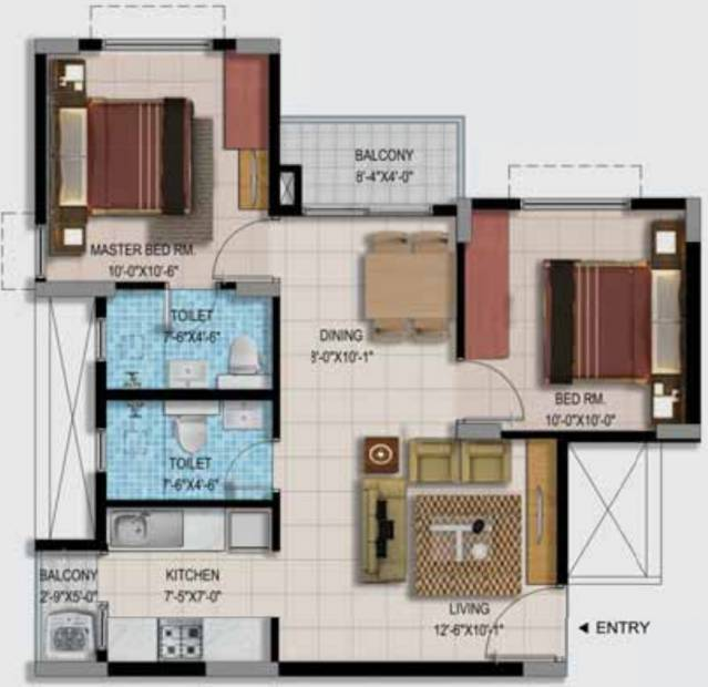 Provident Too Good Homes (2BHK+2T (912 sq ft) 912 sq ft)