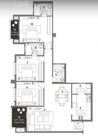 Hiranandani Evita (3BHK+3T (1,814 sq ft) 1814 sq ft)