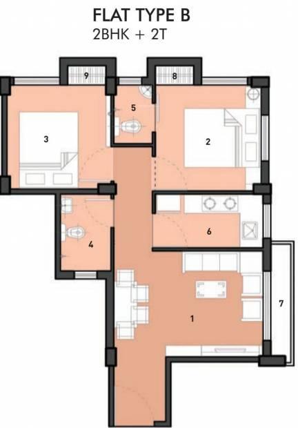 Eden Solace (2BHK+2T (710 sq ft) 710 sq ft)